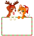 Cute cartoon cat and dog holding blank sign vector image vector image