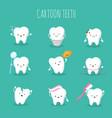 cute cartoon tooth set bateeth health vector image
