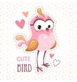 Cute girlish t shirt print template with bird