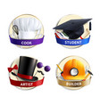 different professions hats realistic emblems vector image vector image
