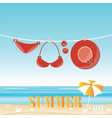fashion red swimsuit bikini on rope vector image vector image