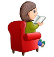 female sitting on red sofa and reading book vector image