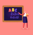 female teacher character with pointer explain abc vector image