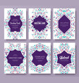 geometric abstract brochure cards set vector image