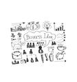 Hand doodle Business icon set idea design vector image