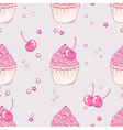 Hand drawn cherry cupcake seamless pattern vector image vector image