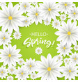 hello springhand lettering with white flowers vector image vector image