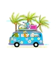Holiday summer bus with beach tropical vacation vector image
