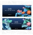 Horizontal blue card with corals and coelenterates vector image vector image