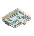 industrial building isometric factory interior vector image vector image