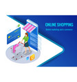 isometric smart smartphone online shopping concept vector image vector image