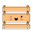 kawaii wooden basket in watercolor silhouette vector image vector image