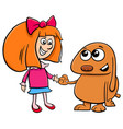 little girl with funny dog cartoon vector image vector image