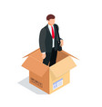 manager in a box isolated on white background vector image vector image