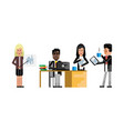 multiethnic business staff working in office vector image
