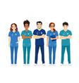 multiethnic nurse characters group vector image vector image