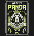 panda head vintage colored poster for china zoo vector image vector image