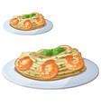 pasta with shrimps cartoon icon isolated vector image