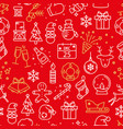 pattern with traditional christmas symbols on red vector image vector image