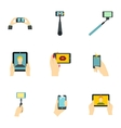 Photo on smartphone icons set flat style vector image vector image