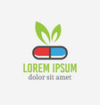pill capsule with green leaf pharmacology logo vector image vector image