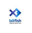 pixel fish logo design vector image vector image