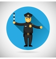 Police officer character with adjusting rod icon vector image