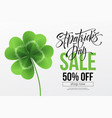 saint patricks day sale poster lettering vector image vector image