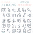 set line icons medical technology vector image