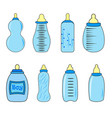 set of baby bottles for boy in vector image vector image