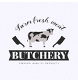 Set of butchery logo with cow and clever vector image