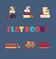set of stacked books in flat design style vector image vector image