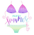 summer bikini flyer with lettering vector image vector image