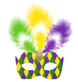 Venetian carnival mask with colorful feathers vector image