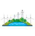 windmills and power lines by the river vector image