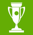 winning cup icon green vector image vector image