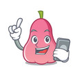 with phone rose apple character cartoon vector image