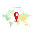 world map with big red pointer vector image vector image