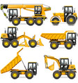 yellow construction machinery set 2 vector image vector image