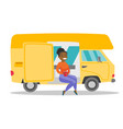 young african woman drinking coffee in motorhome vector image