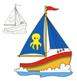 Sailing vessel Coloring book page vector image