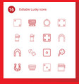 16 lucky icons vector image vector image