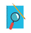 address book and magnifying glass with pencil vector image vector image