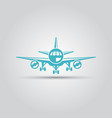 airplane front view isolated icon vector image vector image
