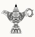 Alladin Magic Lamp line art design for coloring bo vector image vector image