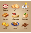 Arabic Food Icons Set vector image