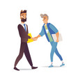 bearded businessman and boy shaking hands isolated vector image vector image