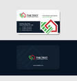 business card with red and green logo of house vector image vector image