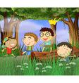 Cartoon Boys Playing vector image vector image