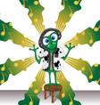 Cartoon Frog with Headphones on background vector image